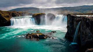 gooafoss waterfall, iceland, природа, водопады, gooafoss, waterfall