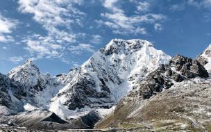 вершина, горы, снег, облака