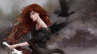 фэнтези, девушки, morrigan, девушка, рыжая, меч, вороны, тучи