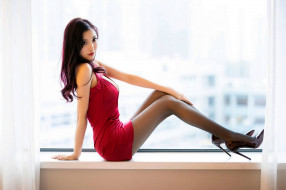девушки, - азиатки, шпильки, красное, платье, поза