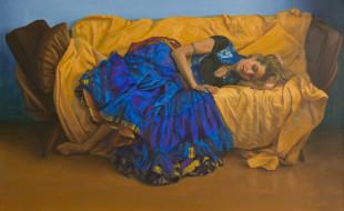 рисованное, живопись, девушка, фон, диван, сон, платье
