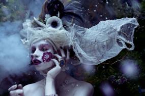девушки, - креатив,  косплей, модель, головной, убор, лицо, украшения