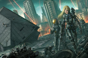 девушка, фон, робот, оружие