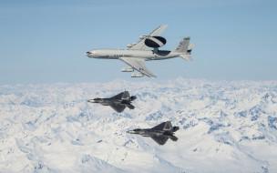 boeing e-3 sentry,  f-22 raptor, авиация, боевые самолёты, boeing, e3, sentry, f22, raptor, ввс, сша, американские, военные, самолеты, usaf, воздушные, раннего, предупреждения, и, управления
