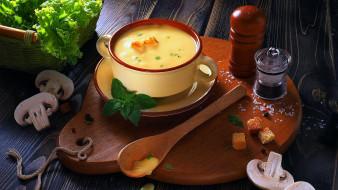 еда, первые блюда, суп, шампиньоны, зелень
