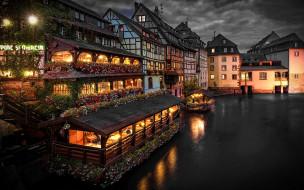города, страсбург , франция, канал, вечер, огни