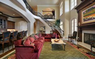 интерьер, гостиная, ковер, камин, диваны