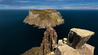 пейзаж, остров, скалы, скальное образование, море, вода, облака, небо, горизонт, трава, тасмания, австралия