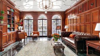 интерьер, гостиная, диван, книжный, шкаф, букет
