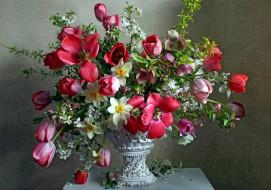цветы, букеты,  композиции, нарциссы, тюльпаны