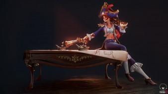 видео игры, league of legends, девушка, шляпа, оружие, miss, fortune, стол, карта, корабли