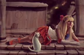 девушка, фон, взгляд, кот