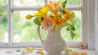 цветы, букеты,  композиции, кувшин, розы, лилии