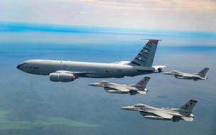 авиация, боевые самолёты, boeing, kc135, stratotanker, военные, самолеты, заправщики, general, dynamics, f16, fighting, falcon, ввс, сша, кс135r, дозаправка, в, воздухе