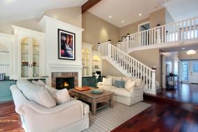 интерьер, гостиная, камин, мягкий, уголок, шахматы, лестница