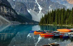 горы, лодки, озеро