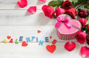 праздничные, день святого валентина,  сердечки,  любовь, розы, подарок, лента, бант, надпись, сердечки