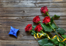 розы, подарок, лента, бант