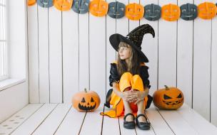 праздничные, хэллоуин, тыква, девушка, шляпа
