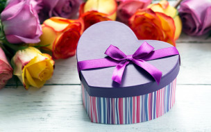 розы, подарок, бант, лента