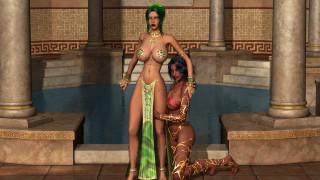 3д графика, фантазия , fantasy, девушки, фон, взгляд, бассейн, платье