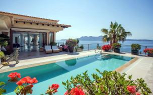 бассейн, пальма, цветы