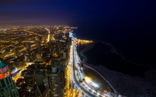 города, чикаго , сша, панорама, вечер, огни