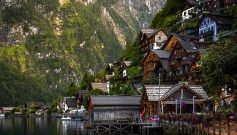 города, гальштат , австрия, горы, дома