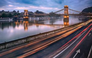 города, будапешт , венгрия, река, дунай, панорама, мост, вечер, огни