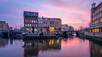 города, амстердам , нидерланды, канал, вечер, огни