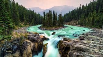 sunwapta waterfall, alberta, canada, природа, водопады, sunwapta, waterfall