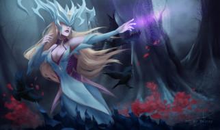 видео игры, league of legends, lissandra, магия, птицы, лес
