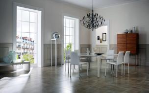 интерьер, столовая, люстра, стол, стулья