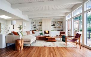 интерьер, гостиная, диван, кресла, лампы, шкаф
