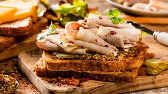 еда, бутерброды,  гамбургеры,  канапе, сэндвич, с, бужениной