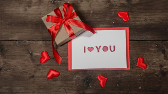 подарок, лента, бант, признание, надпись, сердечки