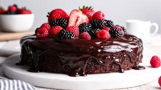 еда, торты, ягоды, торт, шоколадная, глазурь