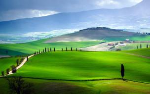 italy, tuscany, природа, дороги