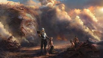 фэнтези, люди, металлолом, дым