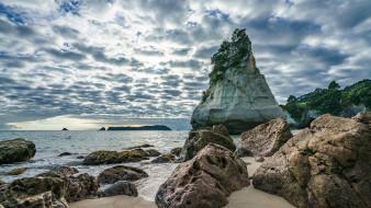 природа, побережье, скалы, песок, облака, небо, горизонт, море, песчаник, новая, зеландия