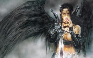 фэнтези, _luis royo, девушка, ангел, оружие, тату