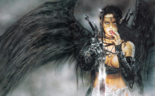 девушка, ангел, оружие, тату