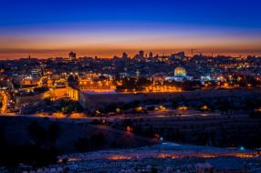 города, иерусалим , израиль, город, закат, панорама, огни