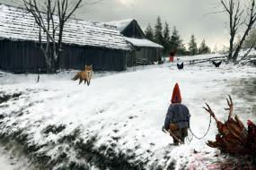 фэнтези, существа, дом, зима, снег, куры, лиса, гном
