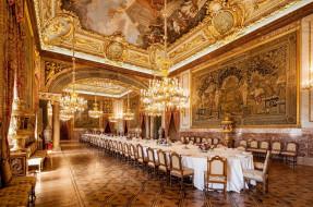 дворец, люстры, стол, сервировка