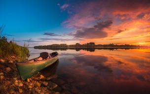 озеро, лодка, закат