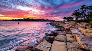 города, сидней , австралия, пейзаж, море, скалы, деревья, облака, закат, небо, вода, сидней