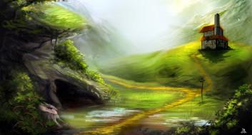 рисованное, природа, горы, дом, тропинка, зелень
