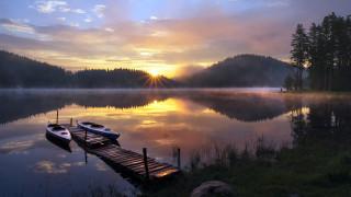 река, закат, мостки, каяки