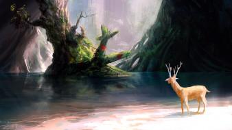 рисованное, животные,  олени, олень, берег, озеро, самолет, деревья